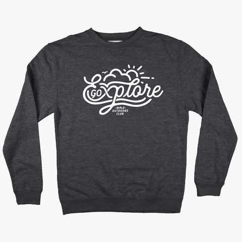 """EXPLORE"" CREW NECK - SWEATSHIRT / CHARCOAL HEATHER"