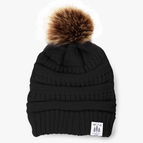 WILD - FAUX FUR POM TOQUE - BLACK
