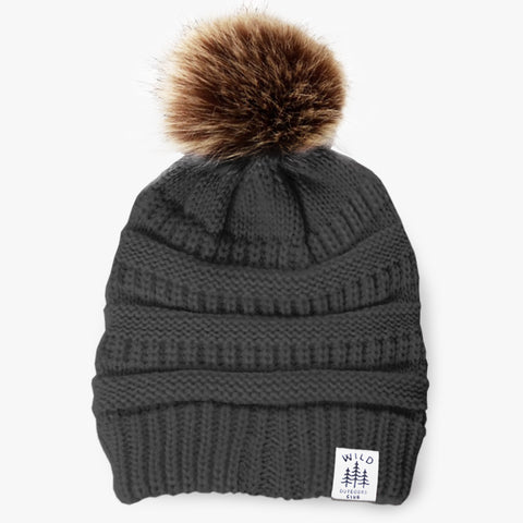 WILD - FAUX FUR POM TOQUE - GREY