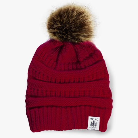 WILD - FAUX FUR POM TOQUE - WILD ROSE