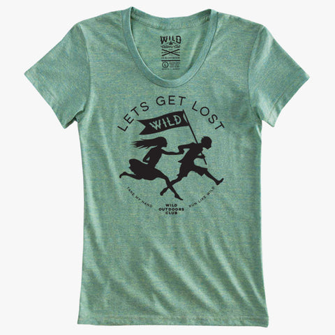"""LETS GET LOST"" - TRI-BLEND WOMEN'S TEE - GLACIER"