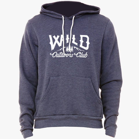 """WILD"" SPONGE FLEECE HOODY - NAVY HEATHER"