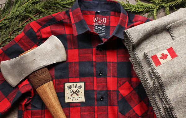 """LUMBERJACK"" UNISEX  RED PLAID BUTTON-UP"