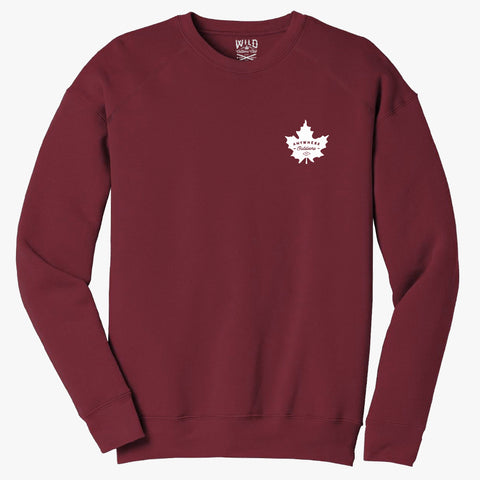 """MAPLE LEAF"" CREW NECK SWEATSHIRT / MAROON"