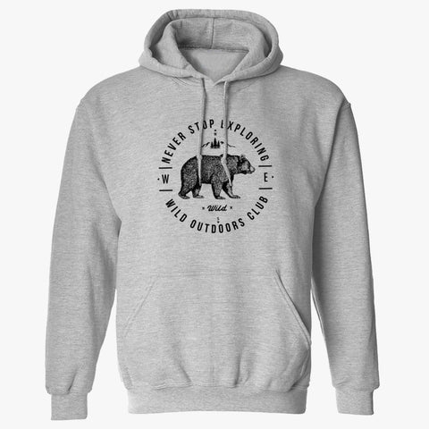 """NEVER STOP EXPLORING"" PULLOVER HOODY - ATHLETIC HEATHER"