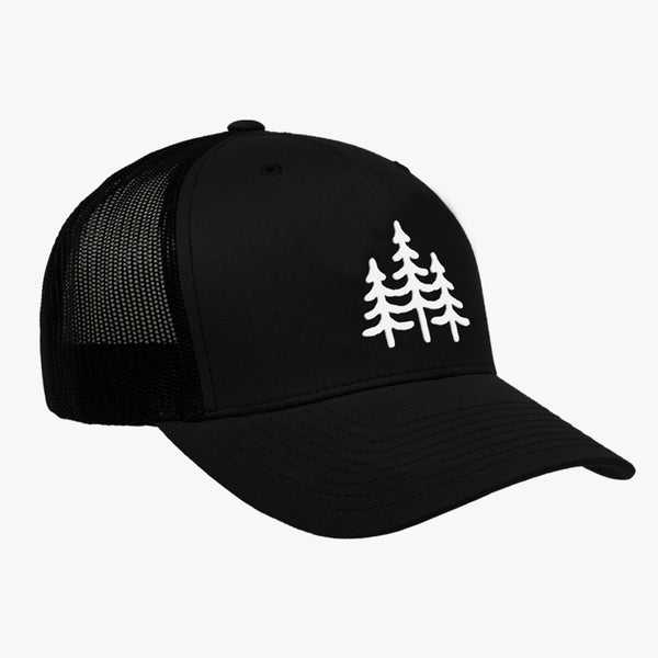 """PINES"" - VINTAGE SNAPBACK TRUCKER HAT - BLACK"