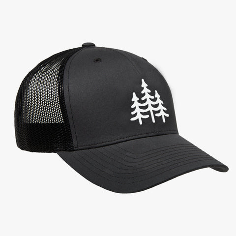 """PINES"" - VINTAGE SNAPBACK TRUCKER HAT - GREY/BLACK"