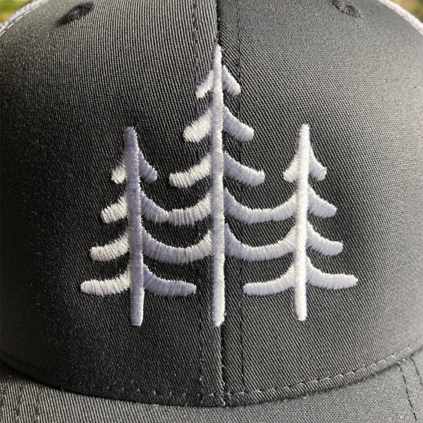 """PINES"" - VINTAGE SNAPBACK TRUCKER HAT - GREY/White"