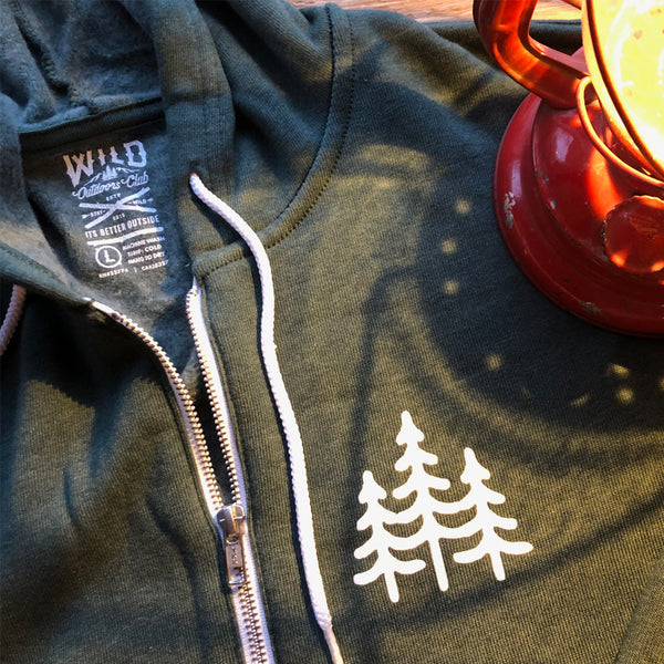 """PINES"" ZIP HOODY - FOREST HEATHER"