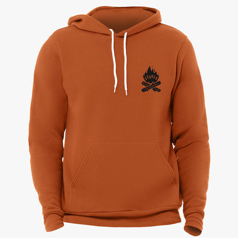 """STOKED"" SPONGE FLEECE HOODY - BURNT ORANGE"