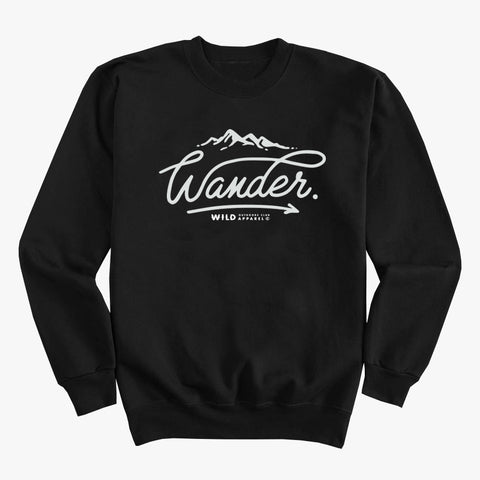 """WANDER"" CREW NECK SWEATSHIRT / BLACK"