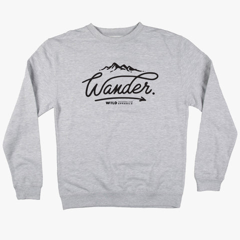 """WANDER"" CREW NECK SWEATSHIRT / ATHLETIC HEATHER"