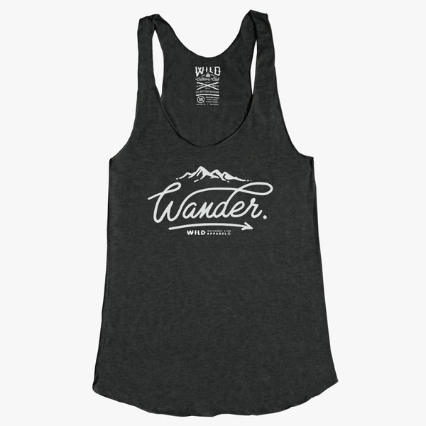 """WANDER"" - WOMEN'S TRI-BLEND RACER-BACK TANK - CHARCOAL HEATHER"