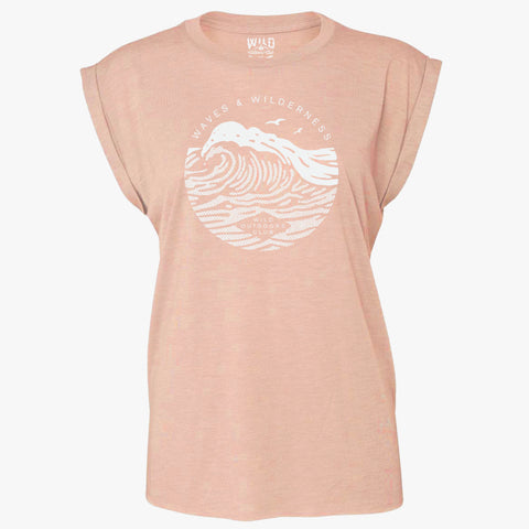"""WAVE"" - WOMEN'S  FLOWY MUSCLE TEE - PEACH"