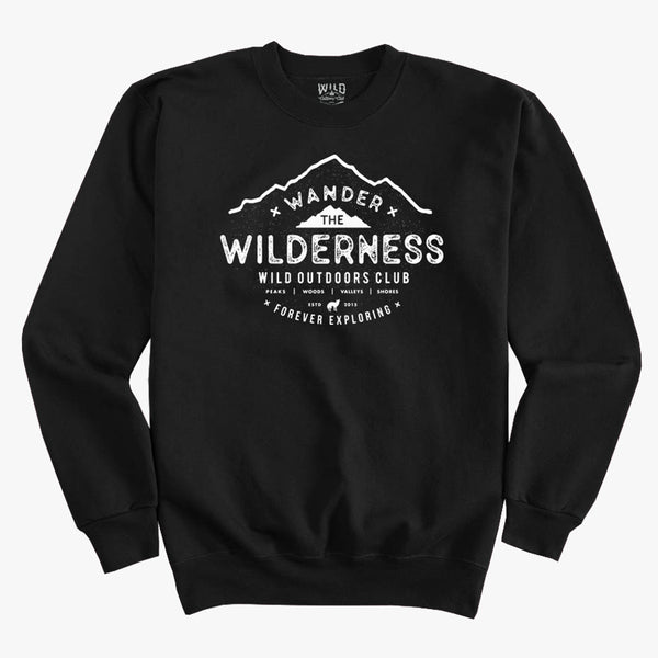 """WILDERNESS"" CREW NECK - SWEATSHIRT / BLACK"