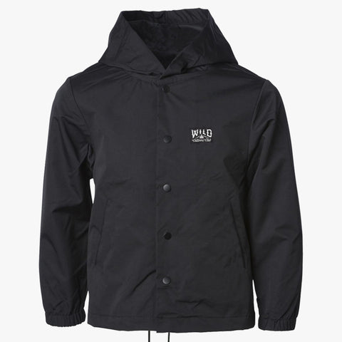 """WILD"" HOODED WINDBREAKER  - BLACK"