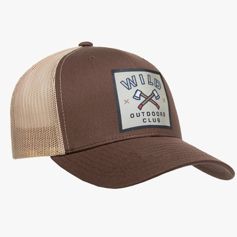 """AXES"" - VINTAGE SNAPBACK TRUCKER HAT - BROWN/TAN"