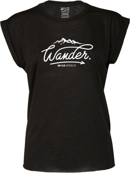 """WANDER"" - WOMEN'S  FLOWY MUSCLE TEE - BLACK"