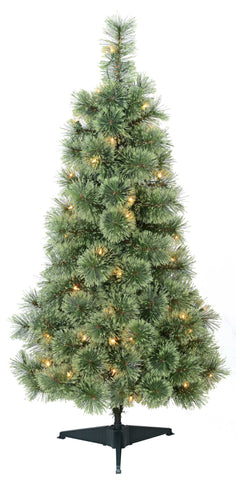 4' Feels Like Home Cashmere with White Lights - Christmas Tree Package - 4' artificial Christmas tree package with lights, ornaments, skirt, star and tinsel - Rent-A-Christmas