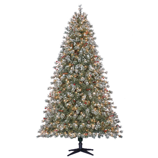 7.5' Sugared Pineberry with White Lights - Christmas Tree Package - 7.5' artificial Christmas tree package with lights, ornaments, skirt, star and tinsel - Rent-A-Christmas
