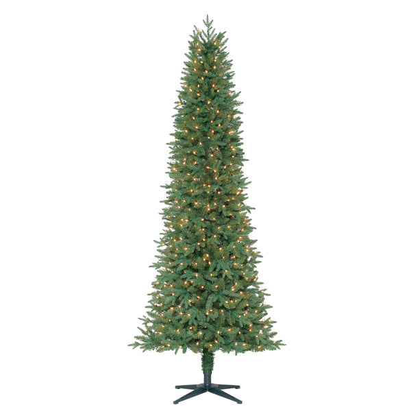 7.5' Feels Like Home Slim Fir with White Lights - Christmas Tree Package - 7.5' artificial Christmas tree package with lights, ornaments, skirt, star and tinsel - Rent-A-Christmas