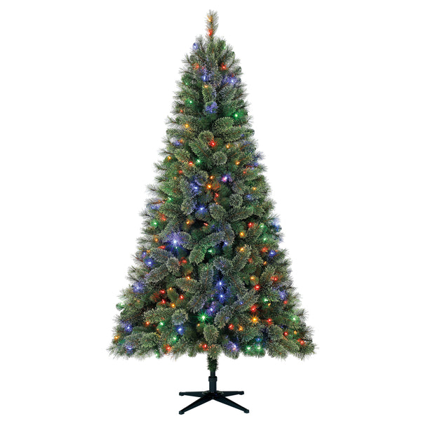 7.5' Feels Like Home Pine with Color-Changing Lights - Christmas Tree Package - 7.5' artificial Christmas tree package with lights, ornaments, skirt, star and tinsel - Rent-A-Christmas