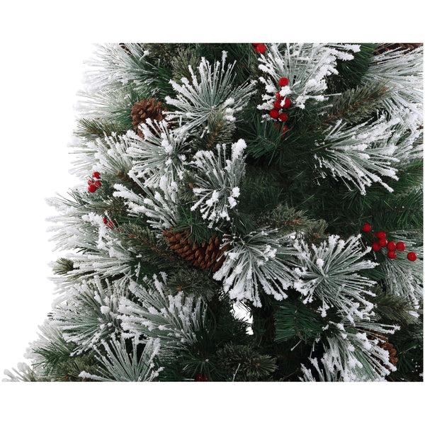 7.5' Frosted Mountainside Pine with White Lights - Christmas Tree Package - 7.5' artificial Christmas tree package with lights, ornaments, skirt, star and tinsel - Rent-A-Christmas
