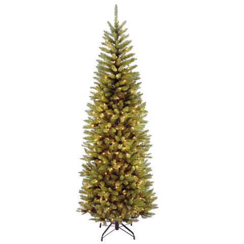 7.5' Kingswood Pencil Fir with White Lights - Christmas Tree Package - 7.5' artificial Christmas tree package with lights, ornaments, skirt, star and tinsel - Rent-A-Christmas
