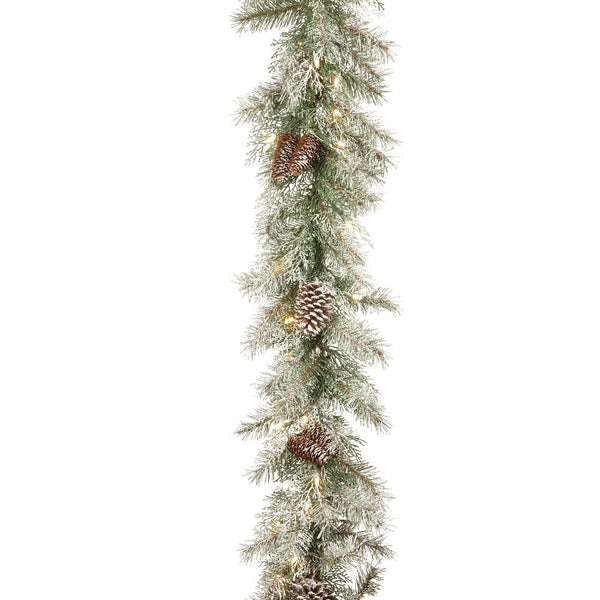 9' Frosted Mountainside Spruce Garland with Pinecones - Christmas Rental Package - Lightly frosted artificial pine needle garland with pinecones and warm white lights - Rent-A-Christmas