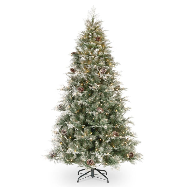 7.5' Frosted Mountainside Spruce with White Lights - Christmas Tree Package - 7.5' artificial Christmas tree package with lights, ornaments, skirt, star and tinsel - Rent-A-Christmas