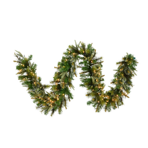 9' Cashmere Pine Garland - Christmas Rental Package - Artificial cashmere pine garland with red berries, pinecones and warm white or multi-color lights - Rent-A-Christmas