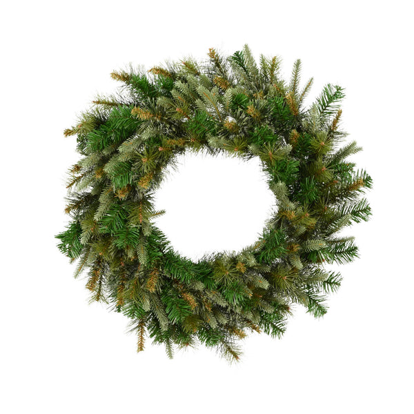 "24"" Cashmere Wreath - Christmas Rental Package - 24"" artificial cashmere pine needle wreath with warm white or multi-color lights - Rent-A-Christmas"