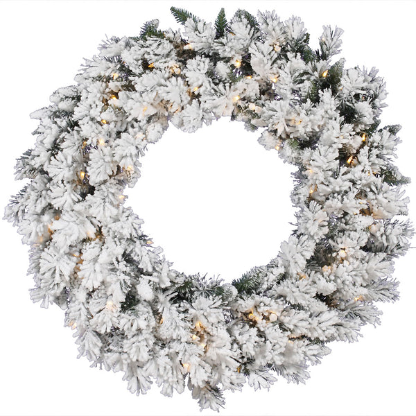 "30"" Frosty Welcome - Christmas Rental Package - 30"" flocked artificial pine needle wreath with warm white or multi-color lights - Rent-A-Christmas"