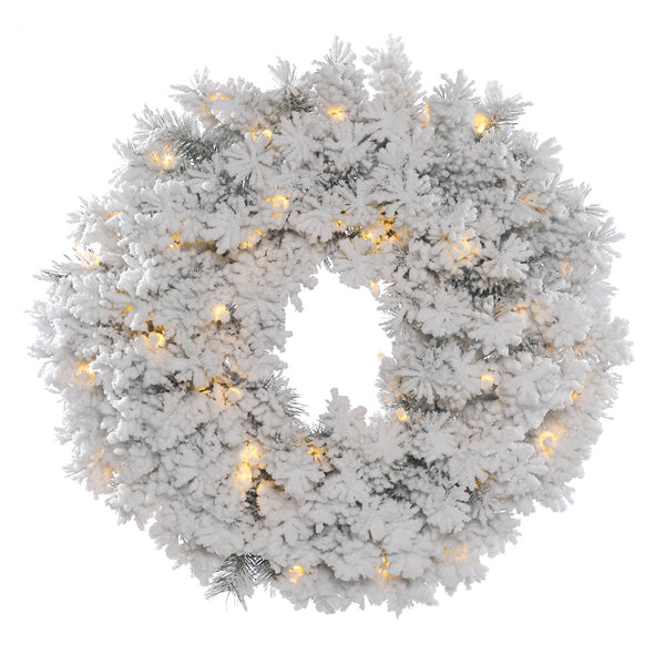 "24"" LUXE Frosty Welcome - Christmas Rental Package - 24"" flocked artificial pine needle wreath with warm white or multi-color lights - Rent-A-Christmas"