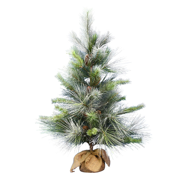 3' Frosted Myers Pine with Burlap - Christmas Tree Package - 3' artificial Christmas tree with burlap base - Rent-A-Christmas