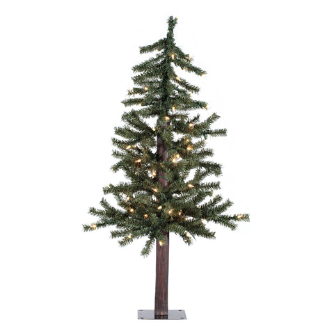 3' Mountain Topper Alpine with White Lights - Christmas Tree Package - 3' artificial Christmas tree package with lights, ornaments, skirt, star and tinsel - Rent-A-Christmas