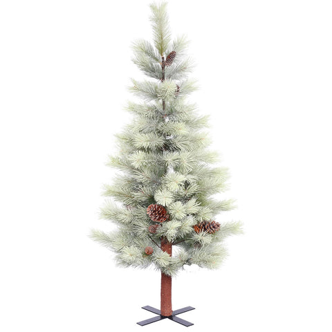 4.5' Snowkist Mountain Topper Alpine with White Lights - Christmas Tree Package - 4.5' artificial Christmas tree package with lights, ornaments, skirt, star and tinsel - Rent-A-Christmas