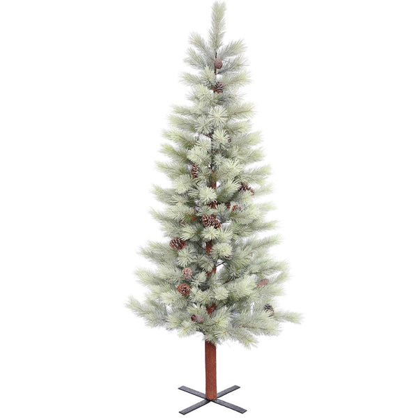 6.5' Snowkist Mountain Topper Alpine with White Lights - Christmas Tree Package - 6.5' artificial Christmas tree package with lights, ornaments, skirt, star and tinsel - Rent-A-Christmas