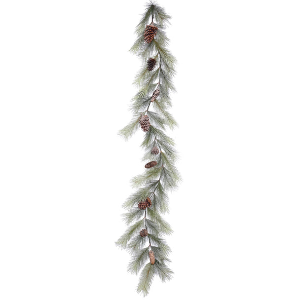Snowkist Alpine Garland - Christmas Rental Package - 6' Frosted Artificial Christmas Garland with choice of lights and decorations - Rent-A-Christmas