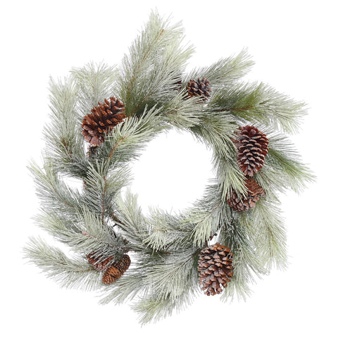 "24"" Snowkist Alpine Welcome - Christmas Rental Package - 24"" frosted artificial pine needle wreath with warm white or multi-color lights - Rent-A-Christmas"