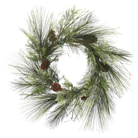 "36"" Mixed Cedar Pine Welcome - Christmas Rental Package - 36"" mixed artificial pine needle wreath with warm white or multi-color lights - Rent-A-Christmas"