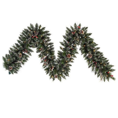 9' Morning Frost Berrycone Garland - Christmas Rental Package - Lightly frosted artificial pine needle garland with red berries, pinecones and warm white or multi-color lights - Rent-A-Christmas