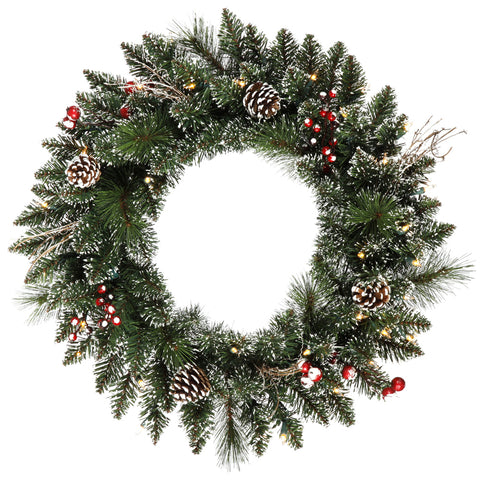 "24"" Morning Frost Berrycone Welcome - Christmas Rental Package - 24"" lightly frosted artificial pine needle wreath with red berries, pinecones, vines and warm white or multi-color lights - Rent-A-Christmas"