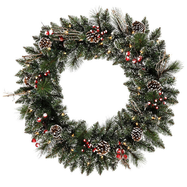 "30"" Morning Frost Berrycone Welcome - Christmas Rental Package - 30"" lightly frosted artificial pine needle wreath with red berries, pinecones, vines and warm white or multi-color lights - Rent-A-Christmas"
