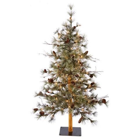 7' Mixed Needle Alpine with White Lights - Christmas Tree Package - 7' artificial Christmas tree package with lights, ornaments, skirt, star and tinsel - Rent-A-Christmas