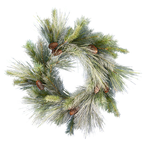 "24"" Frosted Myers Welcome - Christmas Rental Package - 24"" frosted artificial pine needle wreath with warm white or multi-color lights - Rent-A-Christmas"