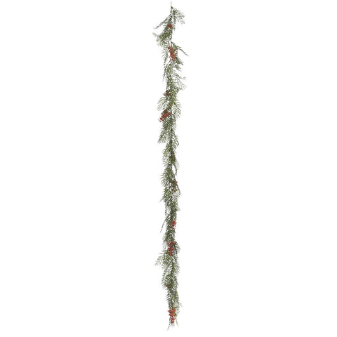 6' Green Brazil Leaf & Berry Garland - Christmas Rental Package - 6' Artificial Garland with choice of lights and decorations - Rent-A-Christmas