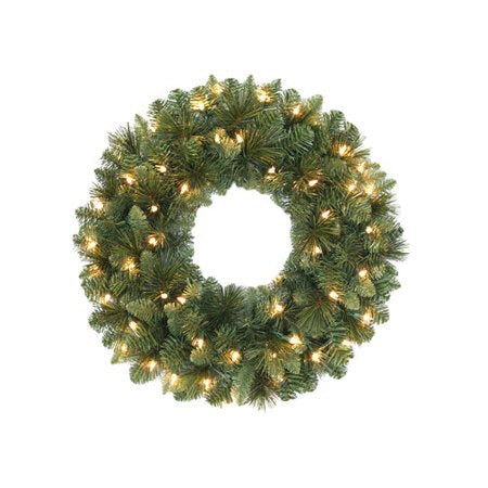 "Welcome All Wreath - Christmas Rental Package - 20"", 24"", or 36"" artificial pine needle wreath with warm white or multi-color lights - Rent-A-Christmas"