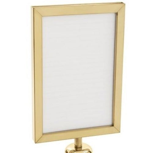 "8.5""x11"" Vertical Gold Sign Holder for Portable Gold Stanchion - Santa Land Rental - Rent-A-Christmas - Rent-A-Christmas"