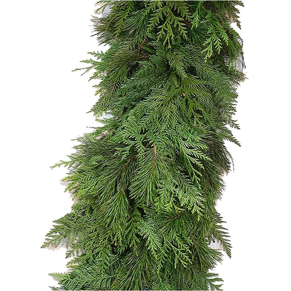 9' Fresh-Cut Enchanted Garland - Christmas Rental Package - 9' Fresh-Cut Christmas Garland with choice of lights and decorations - Rent-A-Christmas